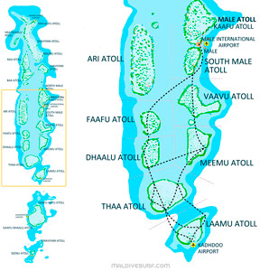 Route map for surftrips in the Central Atolls